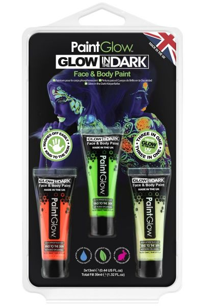 PaintGlow glow in the dark Schminke set