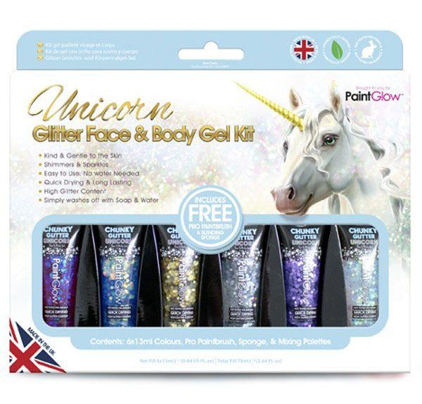 PaintGlow Box Unicorn Chunky Glitzer Face Body Gel